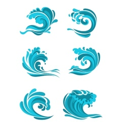 Curling sea and ocean blue waves vector