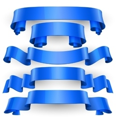 Blue glossy ribbons set vector
