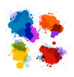 Colorful transparent stains blots splashes set vector