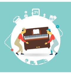 Movers carry furniture piano vector