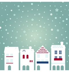 Christmas city on snowing background vector