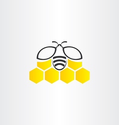 Honeycomb and bee symbol vector