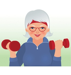 Elderly woman doing fitness vector