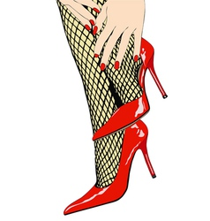 Woman with sensual fishnet stockings and red shoes vector