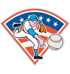 American baseball pitcher throwing ball cartoon vector