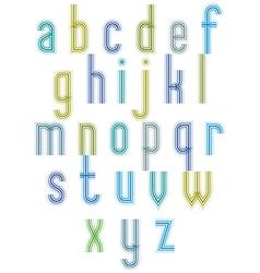 Echo typeset striped retro 70s style font vector