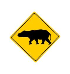 Hippo warning sign vector