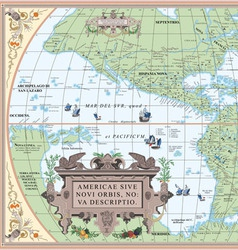 Old map of south and north america vector