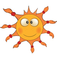 The cheerful sun cartoon vector
