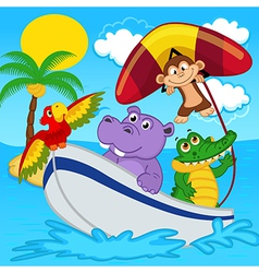 Animals on boat ride with monkey on hang glider vector