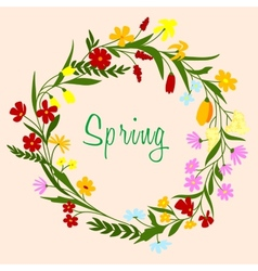 Bright colorful spring floral border vector