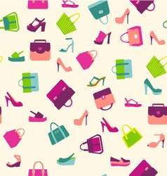 Fashion women bags handbags and summer shoes vector