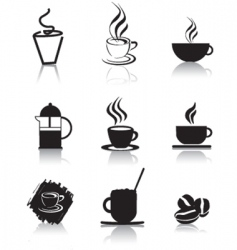 Coffee icons silhouette vector