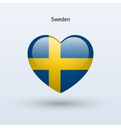 Love sweden symbol heart flag icon vector