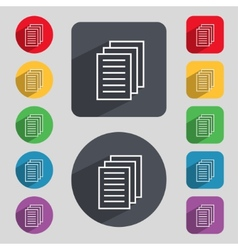Copy file sign icon duplicate document symbol set vector