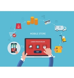 Flat design with e-commerce and online vector