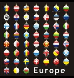 Christmas bulbs europe flags vector