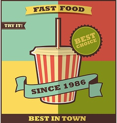 Fast food menu hot drink vector