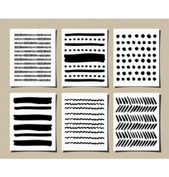 Hand drawn patterns greeting cards set vector