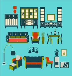 Flat interior living furniture vector