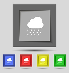 Snowing icon sign on the original five colored vector