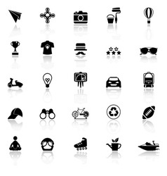 Hipster icons with reflect on white background vector