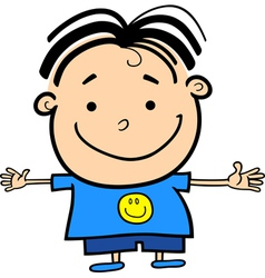 Cartoon cute little happy boy vector