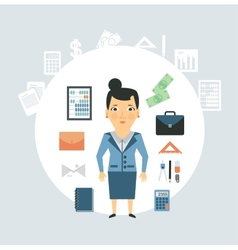 Accountant of working things vector