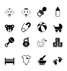 Baby icons with reflection vector