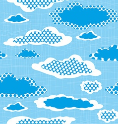 Seamless pattern with dotted clouds on the sharped vector