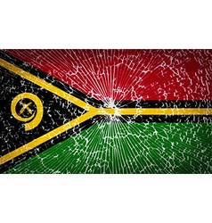 Flags vanuatu with broken glass texture vector