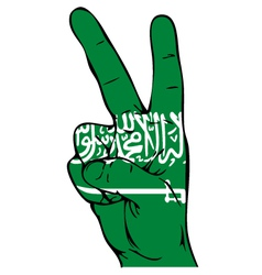 Peace sign of the saudi arabian flag vector