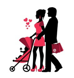 Couple rolls the stroller with a baby vector