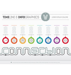 Infographic timeline about connection with eight vector