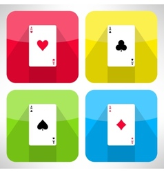 Bright playing cards ace icons set in modern flat vector