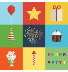 Birthday party icons set vector