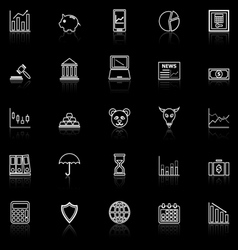 Stock market line icons with reflect on black vector