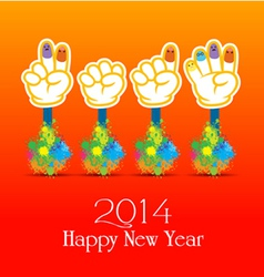 Happy new year 2014 colorful painting of hands vector