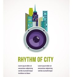 Music city - amplifier and buildings vector