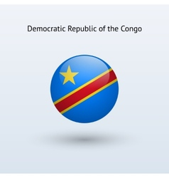 Democratic republic of the congo round flag vector