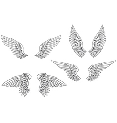 Set of heraldic wings vector