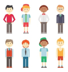 Set of boys in casual smart and sports clothes vector