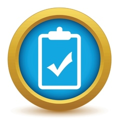 Gold list yes icon vector