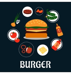 Tasty burger concept with ingredients vector