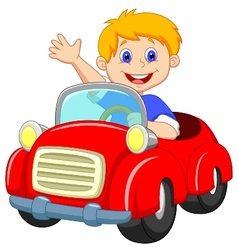 Boy cartoon in the red car vector