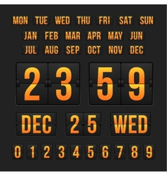 Countdown timer and date calendar scoreboard vector