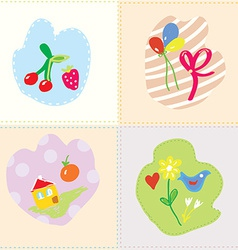 Baby cards set - cut design vector