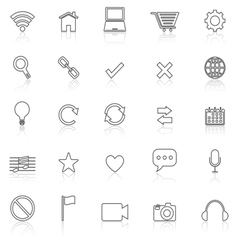 Web line icons with reflect on white vector