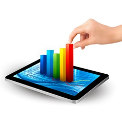 Tablet with colorful graph and women hand vector
