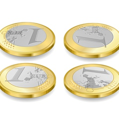 Full set of one euro coins vector